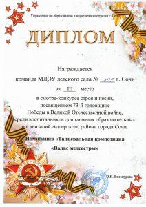 диплом победителей в смотре конкурсе строя и песни